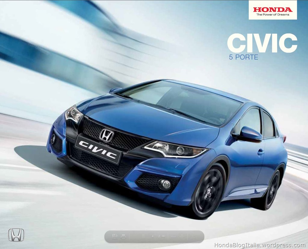 brochure honda civic 5 porte 2015 honda blog italia. Black Bedroom Furniture Sets. Home Design Ideas