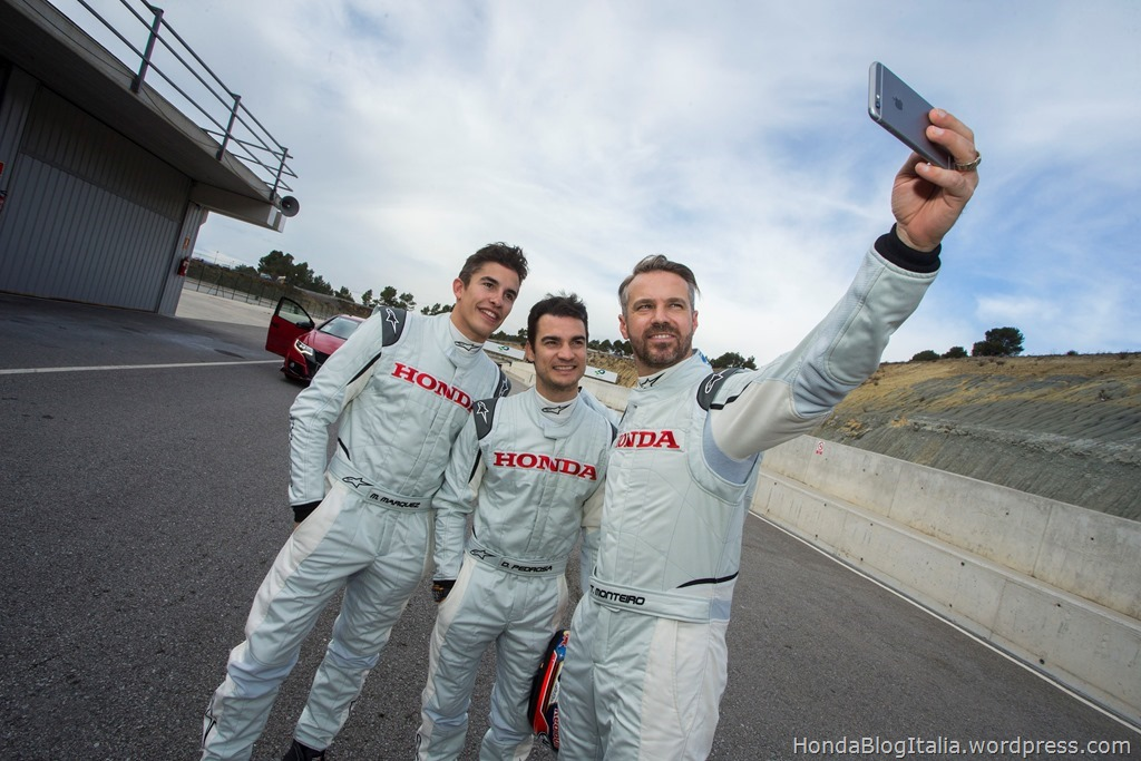 Marc Marquez, Dani Pedrosa, Toni Bou and Tiago Monteiro at the wheel of the new Honda Civic Type R