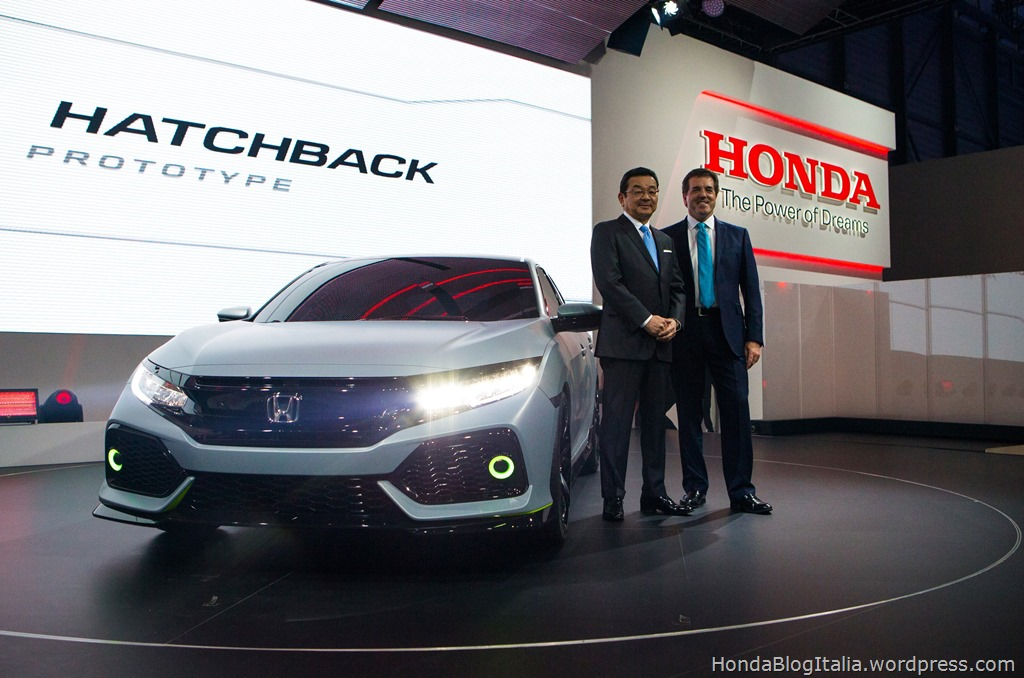 Honda CEO Takahiro Hachigo unveils the all-new Civic Hatchback Prototype at 2016 Geneva Motor Show