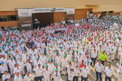 Associates at the Honda Manufacturing of Indiana plant celebrate the start of production of the all-new 2019 Honda Insight.